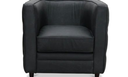 Dublin retro chesterfield lænestol, sort vintage læder