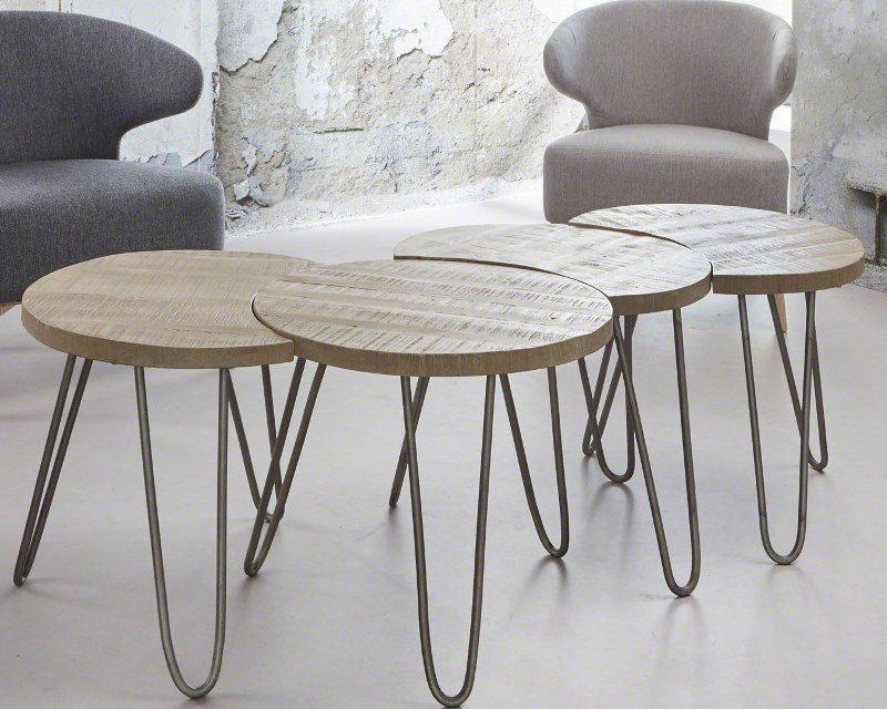 FURBO Sofabordssæt, massivt mangotræ, hvid antik finish