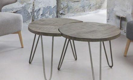 FURBO Sofabordssæt, massivt mangotræ, grå finish