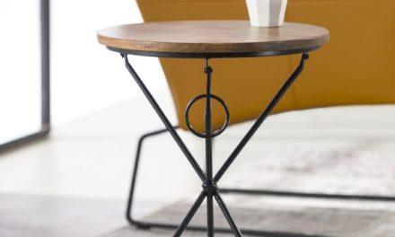 FURBO Sofabord, akacietræ, sort metal, ø 40 cm