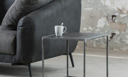 FURBO Sofabord, kubistisk, sort nikkel, sandblæst