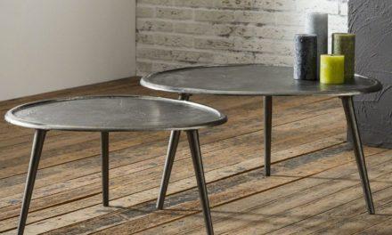 FURBO Sofabord, nyreformet sandblæst metal, ø 73 cm