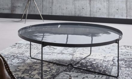 FURBO Rundt sofabord, grå metal, emaljeret, ø 100 cm