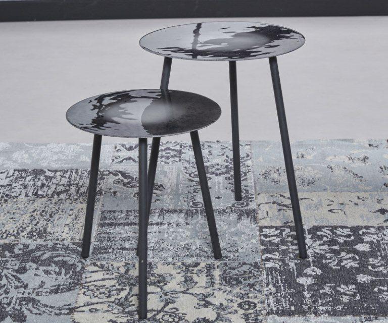 FURBO Sofabordssæt, grå emaljeret stål