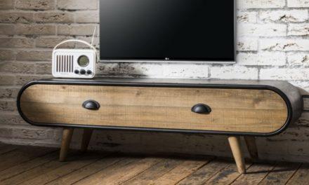 FURBO TV bord, Rustik, sort lakeret, natur skuffe, 120 x 35 cm