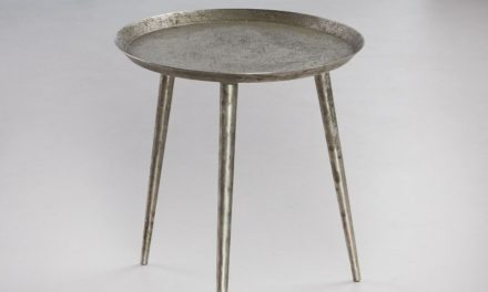 FURBO Sofabord, rundt ø 40 cm, antik sølv finish