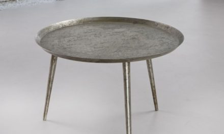 FURBO Sofabord, rundt ø 57 cm, antik sølv finish