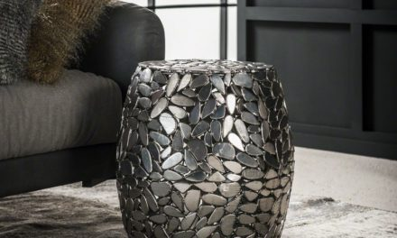 FURBO Sofabord, antik nikkel, ø 40 cm