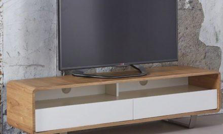 FURBO TVbord, massiv eg med metalben, 40 x 150 cm