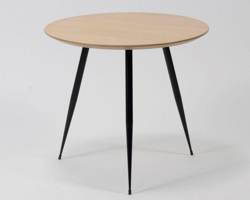 FURBO Sofabord ø 50 cm, fineret eg og sorte metalben