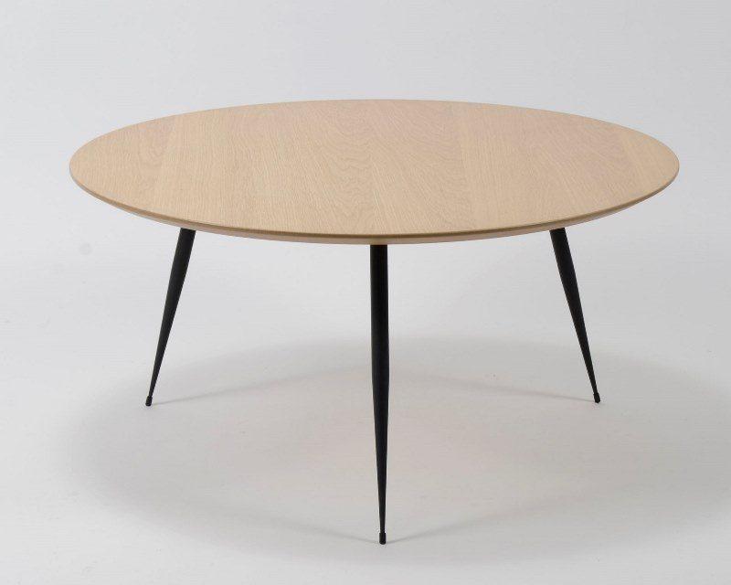 FURBO Sofabord ø 80 cm, fineret eg og sorte metalben