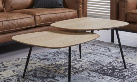 FURBO Sofabord, dobbelt, fineret eg, 63 x 120 cm