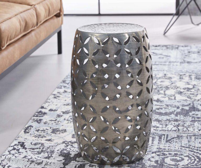 FURBO Sofabord, antik nikkel, ø 30 cm