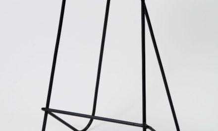 FURBO Barstol, metal og brunt læder