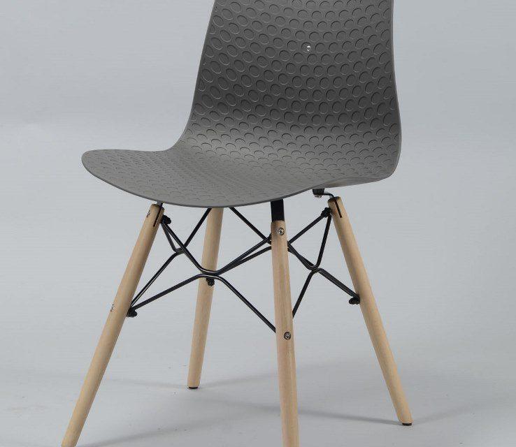 FURBO Spisebordsstol, grå plast, natur træben