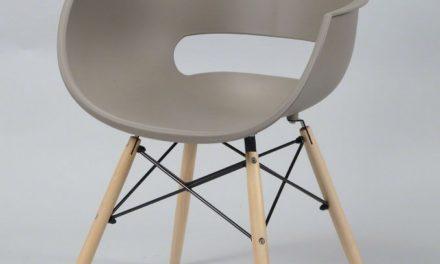 FURBO Spisebordsstol, gråbrun plast, natur træben
