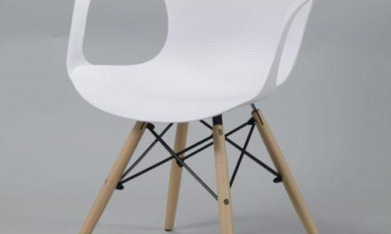FURBO Spisebordsstol, hvid plast, natur træben