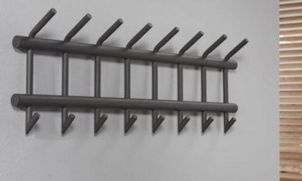 FURBO Knagerække, 8 dobbelt kroge, mat grå stål