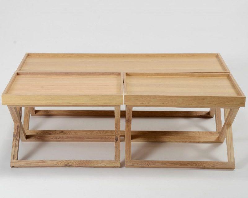 FURBO Sofabordssæt, fineret eg, 3 bakkeborde