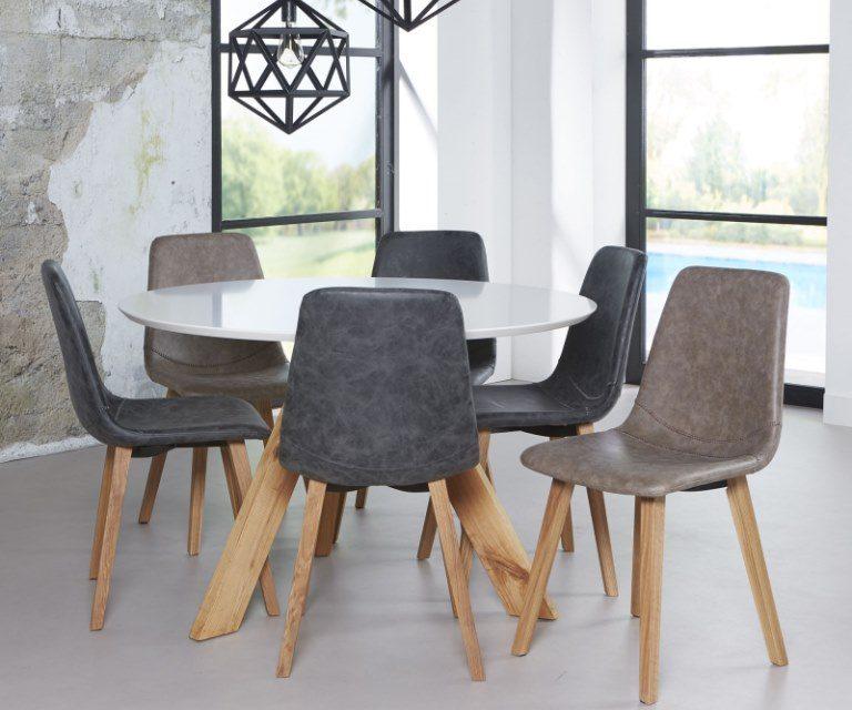 FURBO Spisebord ø 120 cm, hvid top, natur egeben