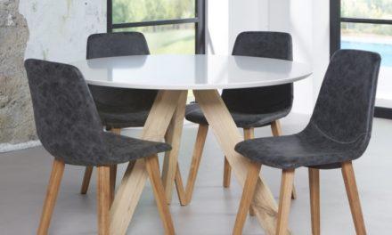 FURBO Spisebord ø 120 cm, hvid top, hvidolieret egeben