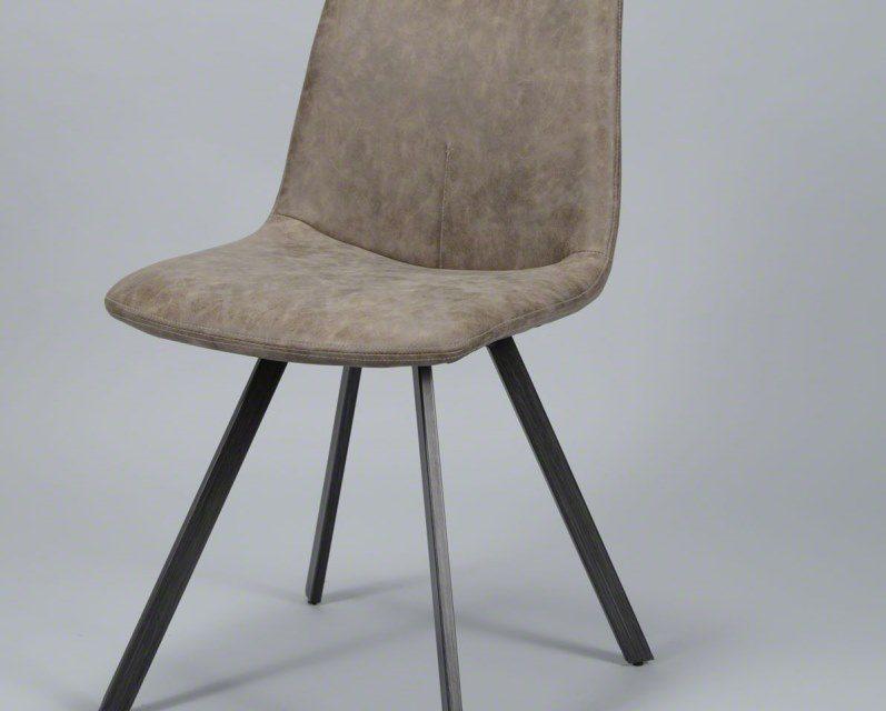 FURBO Spisebordsstol, fladt stål og brunt læder
