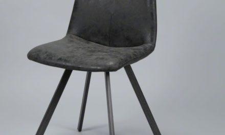FURBO Spisebordsstol, fladt stål og sort læder