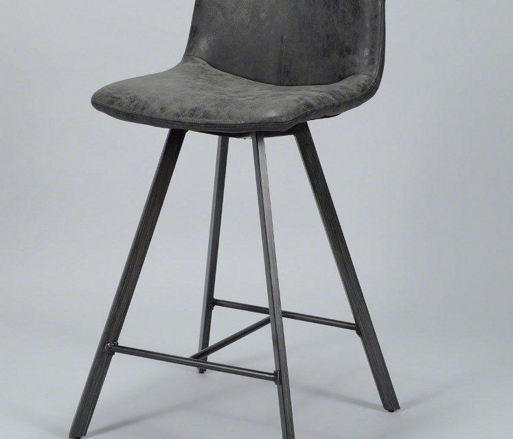 FURBO Barstol, metal og sort læder
