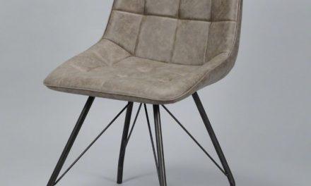 FURBO Spisebordsstol, stål og brunt læder