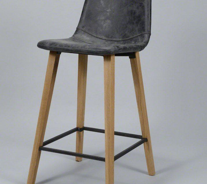 FURBO Barstol, træ og sort læder