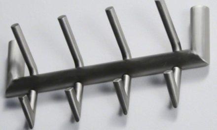 FURBO Knagerække, børstet stål, 4 kroge, 40 cm