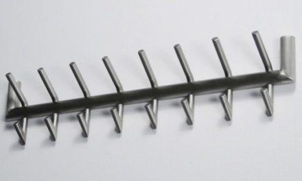 FURBO Knagerække, børstet stål, 8 kroge, 78 cm