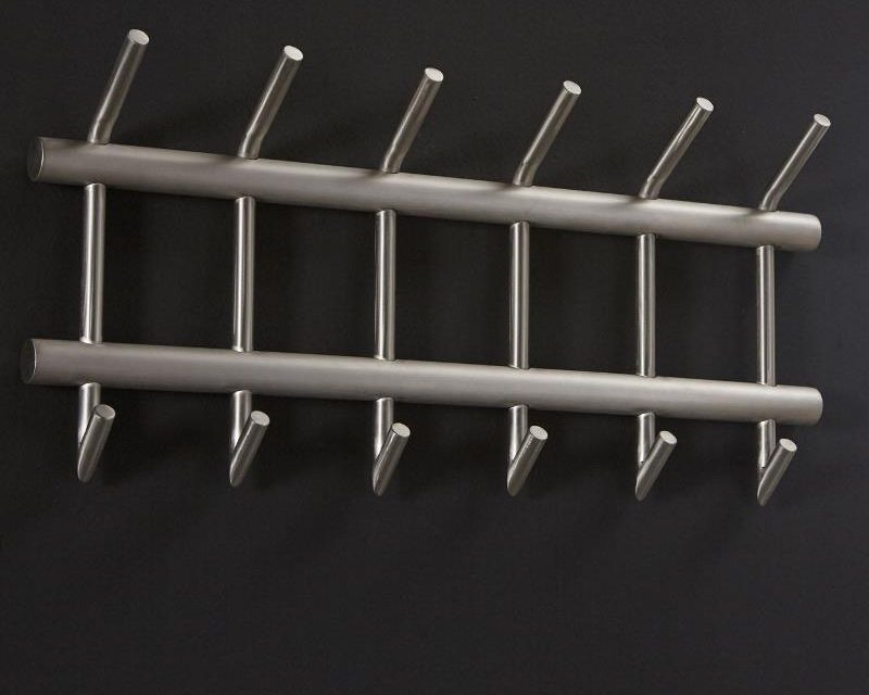 FURBO Knagerække, børstet stål, dobbelt, 2 x 6 kroge, 67 cm