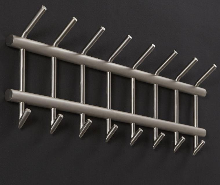 FURBO Knagerække, børstet stål, dobbelt, 2 x 8 kroge, 90 cm