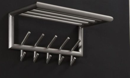 FURBO Hattehylde, børstet stål, 60 cm