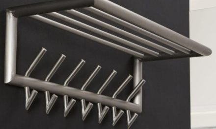 FURBO Hattehylde, børstet stål, 75 cm