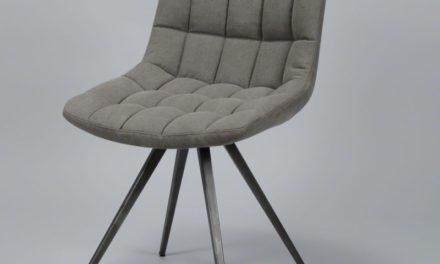 FURBO Spisebordsstol, stål og gråt stof
