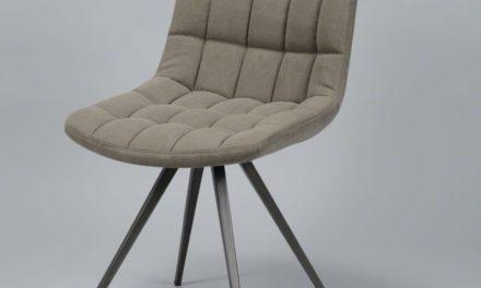 FURBO Spisebordsstol, stål og sandfarvet stof