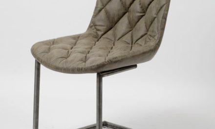 FURBO Spisebordsstol, stål og gråbrunt læder
