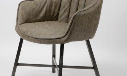 FURBO Spisebordsstol, stål og gråbrun læder