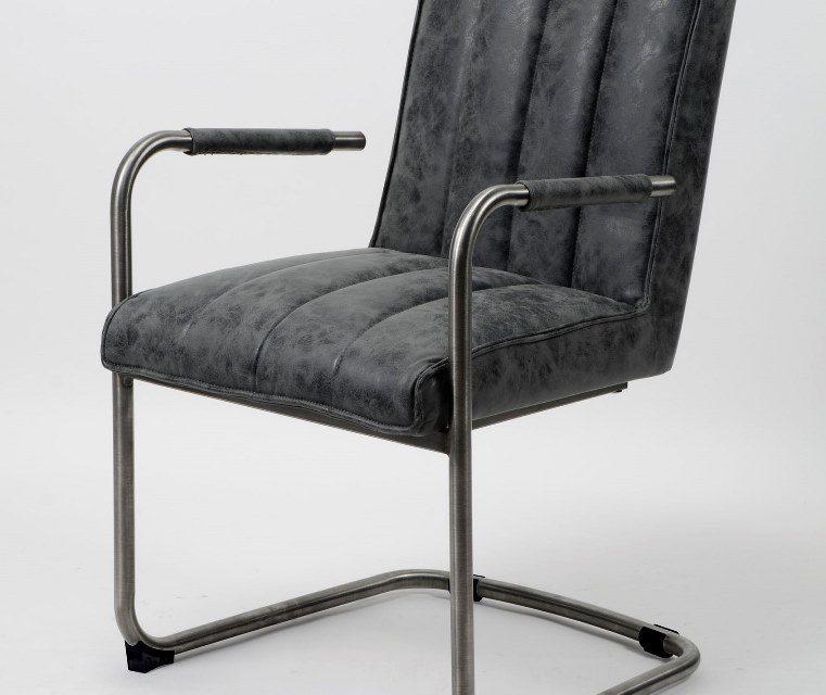 FURBO Spisebordsstol, stål og sort læder