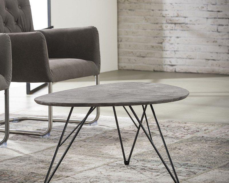 FURBO Sofabord nyreformet, beton look, 90 x 60 cm