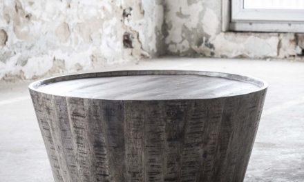 FURBO Sofabord, massiv mangotræ, grå finish