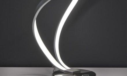 FURBO Bordlampe, LED, mat nikkel, med lys dæmper