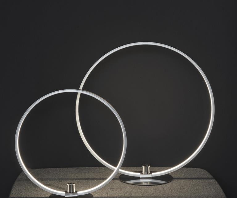 FURBO Bordlampe, LED, mat nikkel, med lysdæmper