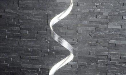 FURBO Gulvlampe, LED, mat nikkel, snoet design