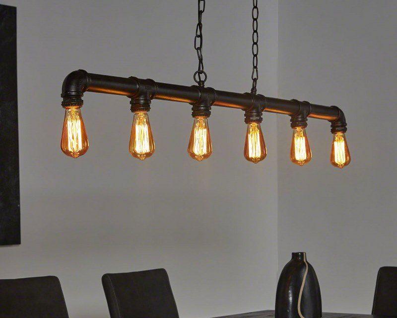 FURBO Loftslampe, industri design, sort metal, 6 pærer