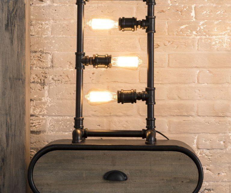 FURBO Bordlampe, industrielt design, sort metal