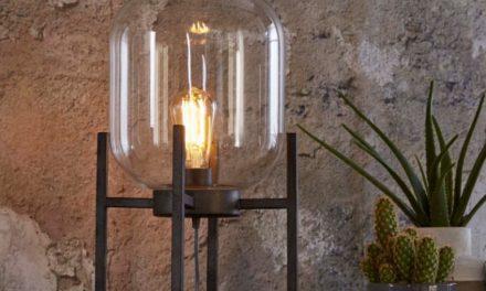 FURBO Bordlampe, antik sølv og glas