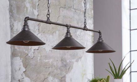 FURBO Loftslampe, antik sølv finish, 3 lamper